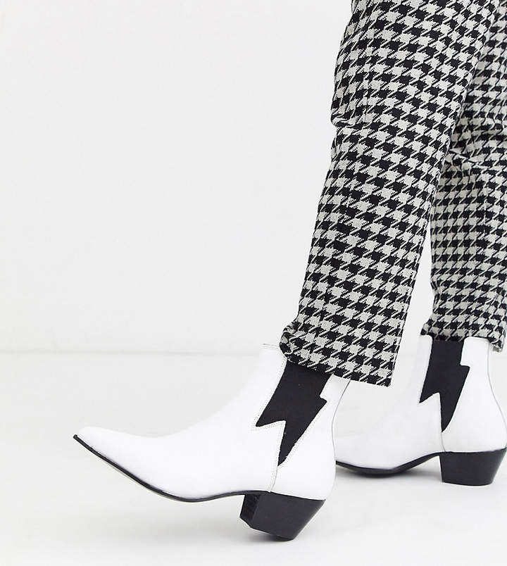 Asos DESIGN Wide Fit cuban heel western chelsea boots in white leather with lightning detail