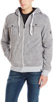 Southpole Men's Hooded Sherpa Fleece Jacket with All Over Prints and Utility Pockets