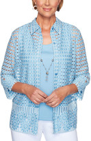 Alfred Dunner Women's Open Cardigans SKYBLUE - Sky Blue Semisheer Geometric Floral Necklace-Accent Layered Top - Women, Petite & Plus