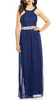 Jodi Kristopher High Neck Lace Bodice Embellished Waist Long Dress