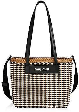 Miu Miu Women's Large Woven Leather Tote