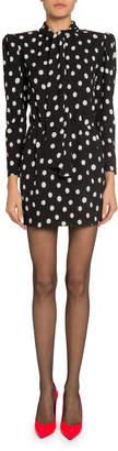 Saint Laurent Polka-Dotted Tie-Neck Mini Dress