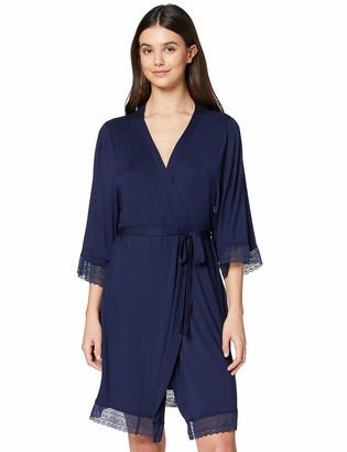 Iris & Lilly Amazon Brand Women's Long Cotton Dressing Gown Blue (Maritime Blue) L Label:L
