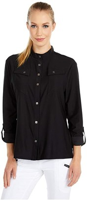 Jamie Sadock Chamise Shirt Jacket (Jet Black) Women's Clothing