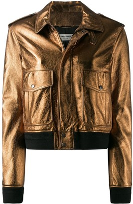 Saint Laurent metallic aviator jacket