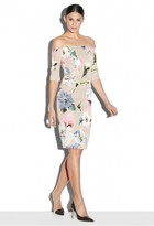 Milly Paper Floral Print Slim Off The Shoulder Dress