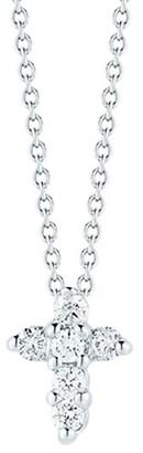 Roberto Coin Tiny Treasures 0.11 TCW Diamond & 18K White Gold Baby Cross Pendant Necklace