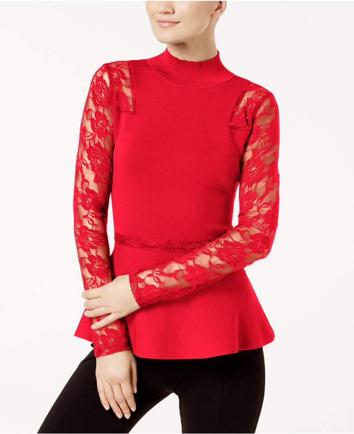 INC International Concepts Inc Lace Peplum Sweater