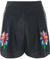 Matthew Williamson Embellished Embroidered Silk Crepe De Chine Shorts - Black