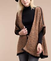 Brown Knit Cape-Sleeve Wool-Blend Cardigan