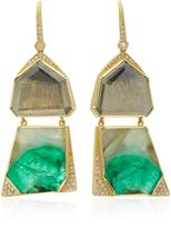 Brooke Gregson M'O Exclusive: Barragan Geo Diamond Slice Emerald Drop Earrings