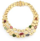 Marco Bicego Lunaria Multicolor Tourmaline & 18K Yellow Gold Three-Strand Bib Necklace