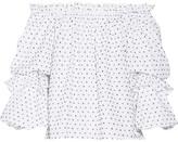 Caroline Constas Gia Off-the-shoulder Swiss-dot Cotton Top - White