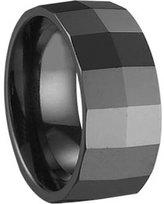 Black Ceramic Ring by CERAMIC GESTALT® - 10mm. Square Faceted Design (Size 5 to 14) SZ 12.5 - RBL10SF125