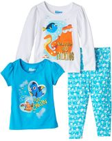 Disney Pixar Finding Dory Toddlers Girl Short Sleeve & Long Sleeve Tee & Leggings Set