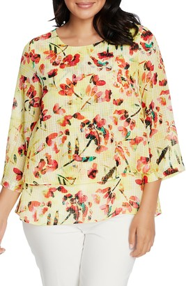 Chaus Abstract Tulip Tiered Blouse