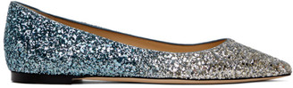 Jimmy Choo Silver Glitter Romy Ballerina Flats