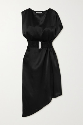 Envelope1976 - + Net Sustain Bordeaux Asymmetric Belted Satin Dress - Black