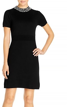 Karl Lagerfeld Paris Faux Pearl Trim Sweater Dress