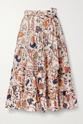 Ulla Johnson Sigrid Tiered Floral-print Cotton-poplin Midi Skirt - Ecru