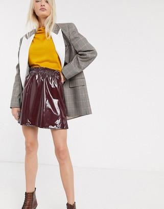 Asos Design DESIGN vinyl mini skirt with paperbag waist