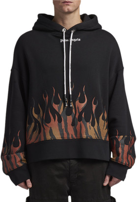 Palm Angels Men's Jersey Flames Pullover Hoodie