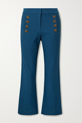 Derek Lam 10 Crosby Adeline Cropped Button-embellished Stretch-cotton Flared Pants - Indigo