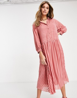 ASOS DESIGN pleated button through midi shirt dress in self stripe in tea rose