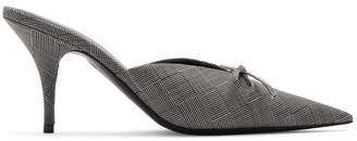 Balenciaga Black and White Check Knife Mules