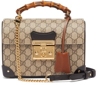 Gucci Padlock Bamboo-handle Gg Supreme Handbag - Grey Multi