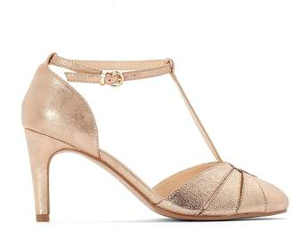 La Redoute Collections Metallic T-Bar Stiletto Heels with Ankle Strap