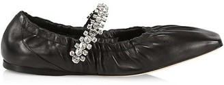Jimmy Choo Gai Square-Toe Crystal-Strap Leather Ballerina Flats