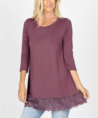 Lydiane Women's Tunics EGGPLANT - Eggplant Round Neck Three-Quarter Sleeve Lace-Hem Top - Women