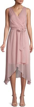 Karl Lagerfeld Paris Dot-Print Chiffon Wrap-Effect Dress