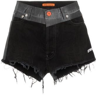 Heron Preston contrast-waistband denim shorts