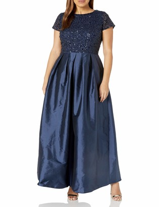 Adrianna Papell Women's Plus Size Taffeta Gown with Beaded Bodice