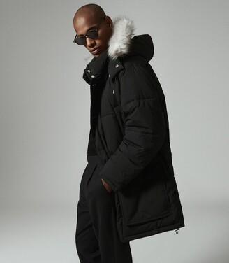 Reiss Saunders - Faux Fur Hooded Parka in Black
