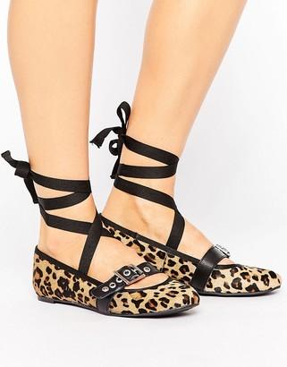 Park Lane Leopard Leather Strap Ballerina