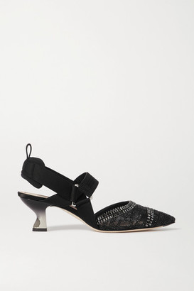 Fendi Colibri Embellished Mesh, Rubber And Stretch-canvas Slingback Pumps - Black