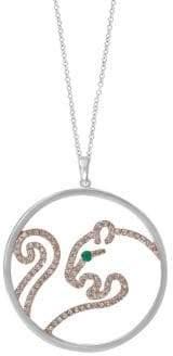 Effy 14K Two-Tone Gold, Diamond & Emerald Panther Pendant Necklace