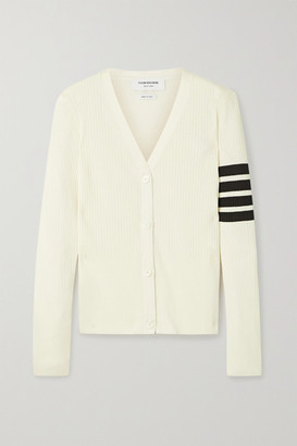 Thom Browne Striped Pointelle-knit Cotton And Silk-blend Cardigan - Cream