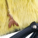 Patrizia Pepe Leather Bag With Faux Fur Flap