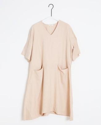Beaumont Organic Eliana May Linen Dress In Bone - Bone / Large