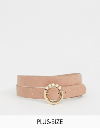 Glamorous Curve waist and hip jeans belt with buckle detail in pink