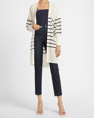 Express Striped Balloon Sleeve Long Cardigan