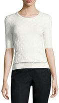 Escada Checkerboard-Knit Half-Sleeve Sweater