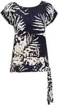 Wallis Navy Palm Print Tie Side Top