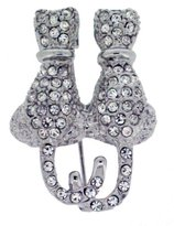 Jodie Rose Clear Crystal Cats Brooch