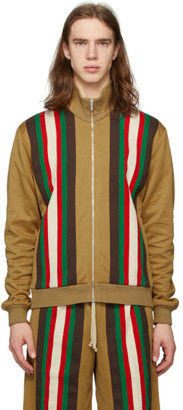 Gucci Tan Jersey Striped Sweater