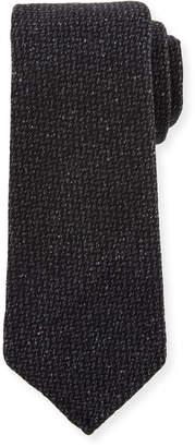 Kiton Crowsfoot Wool/Silk Tie, Gray